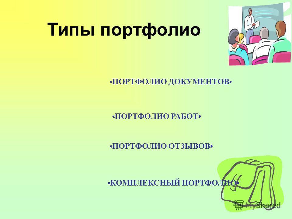 Типы портфолио « ПОРТФОЛИО ДОКУМЕНТОВ » « ПОРТФОЛИО РАБОТ » « ПОРТФОЛИО ОТЗЫВОВ » « КОМПЛЕКСНЫЙ ПОРТФОЛИО »