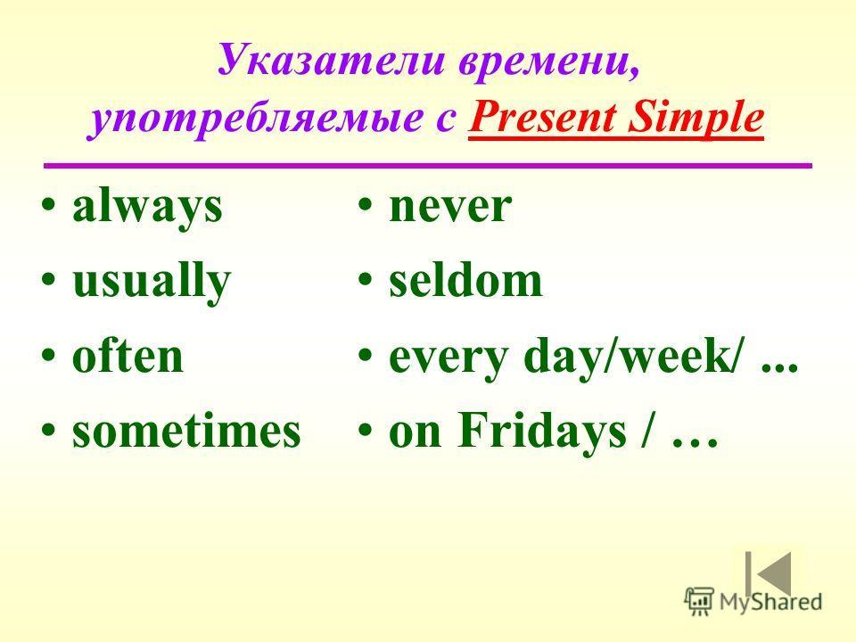 Указатели времени, употребляемые с Present Simple always usually often sometimes never seldom every day/week/... on Fridays / …