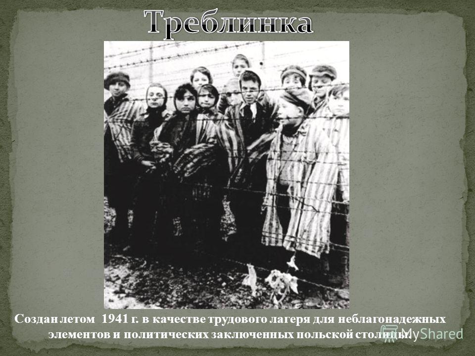Создан летом 1941 г. в качестве трудового лагеря для неблагонадежных элементов и политических заключенных польской столицы.
