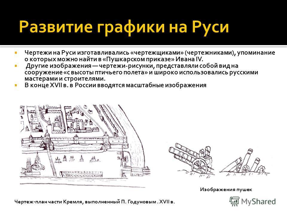 Чертежи на Руси изготавливались «чертежщиками» (чертежниками), упоминание о которых можно найти в «Пушкарском приказе» Ивана IV. Другие изображения чертежи-рисунки, представляли собой вид на сооружение «с высоты птичьего полета» и широко использовали