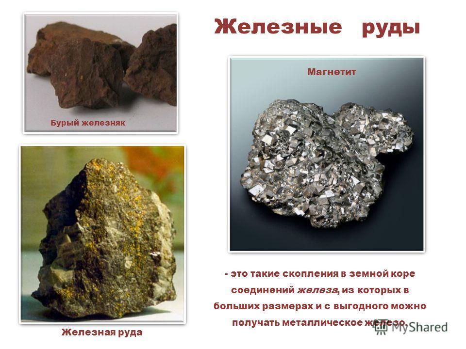 Железные руды Бурый железняк Магнетит Железная руда - это такие скопления в земной коре соединений железа, из которых в больших размерах и с выгодного можно получать металлическое железо.