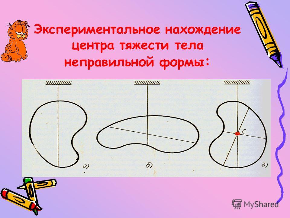 Центр тяжести – точка, через которую проходит равнодействующая всех параллельных сил тяжести, действующая на отдельные элементы тела (при любом положении тела в пространстве). Момент силы зависит от ее плеча, а значит, и от точки приложения силы. Осо