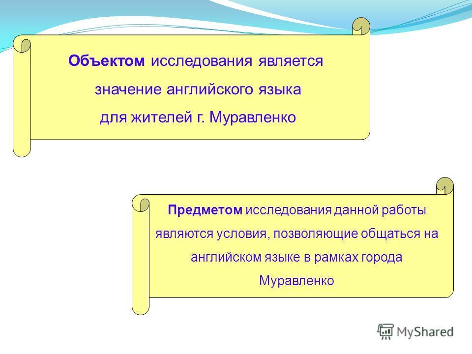 Объектом исследования является значение английского языка для жителей г. Муравленко Предметом исследования данной работы являются условия, позволяющие общаться на английском языке в рамках города Муравленко