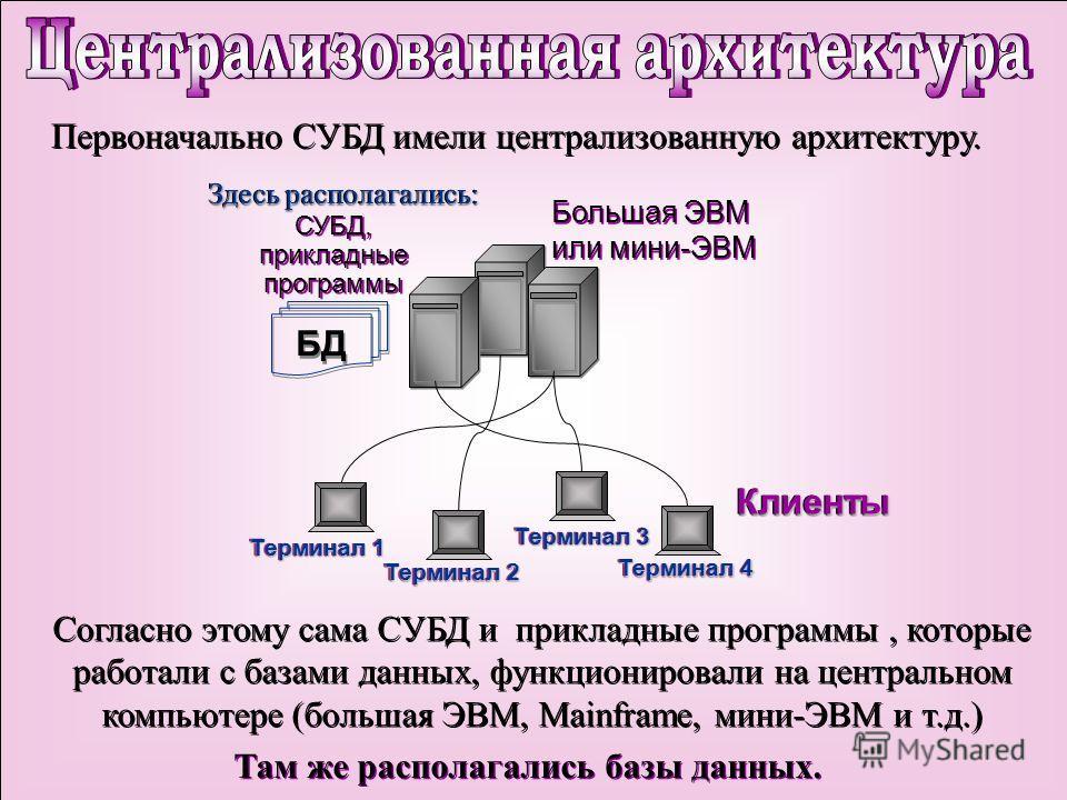 Первоначально СУБД имели централизованную архитектуру. Согласно этому сама СУБД и прикладные программы, которые работали с базами данных, функционировали на центральном компьютере (большая ЭВМ, Mainframe, мини-ЭВМ и т.д.) Там же располагались базы да