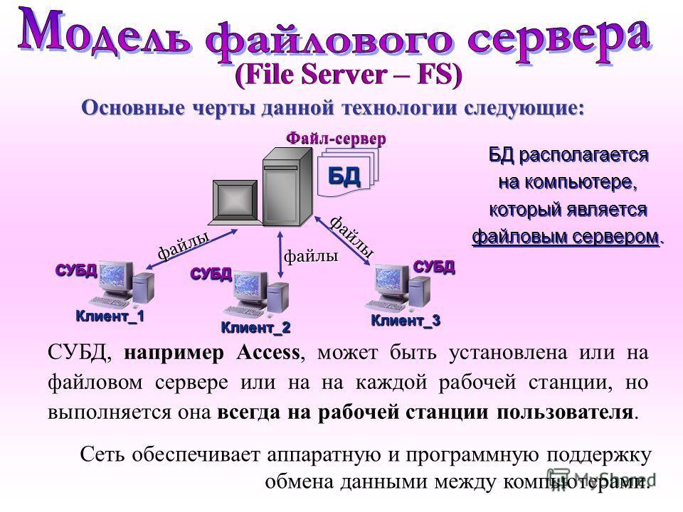 Основные черты данной технологии следующие: Сеть обеспечивает аппаратную и программную поддержку обмена данными между компьютерами. БД располагается на компьютере, который является файловым сервером. БД располагается на компьютере, который является ф