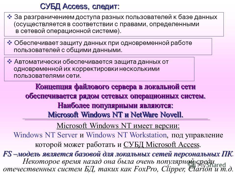 За разграничением доступа разных пользователей к базе данных (осуществляется в соответствии с правами, определенными в сетевой операционной системе). СУБД Access, следит: Обеспечивает защиту данных при одновременной работе пользователей с общими данн