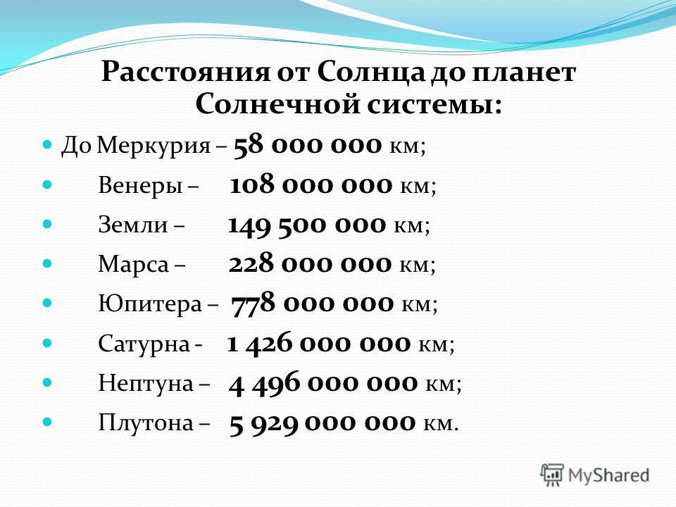 Расстояния от Солнца до планет Солнечной системы: До Меркурия – 58 000 000 км; Венеры – 108 000 000 км; Земли – 149 500 000 км; Марса – 228 000 000 км; Юпитера – 778 000 000 км; Сатурна - 1 426 000 000 км; Нептуна – 4 496 000 000 км; Плутона – 5 929