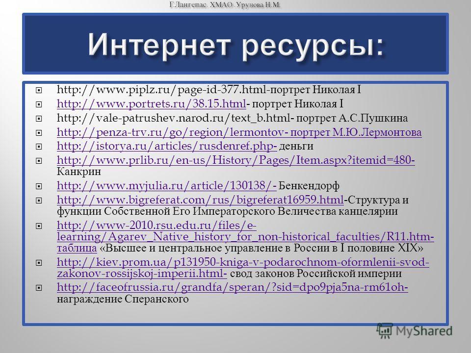 http://www.piplz.ru/page-id-377.html- портрет Николая I http://www.portrets.ru/38.15.html- портрет Николая I http://www.portrets.ru/38.15.html http://vale-patrushev.narod.ru/text_b.html- портрет А. С. Пушкина http://penza-trv.ru/go/region/lermontov-