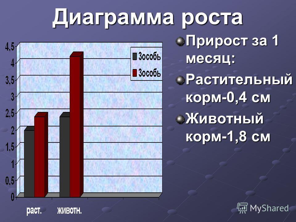 Диаграмма роста Прирост за 1 месяц: Растительный корм-0,4 см Животный корм-1,8 см