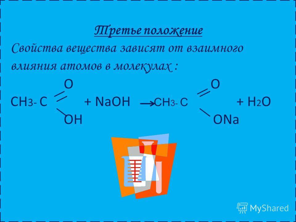 Третье положение Свойства вещества зависят от взаимного влияния атомов в молекулах : O O CH 3- C + NaOH CH 3- C + H 2 O OH ONa