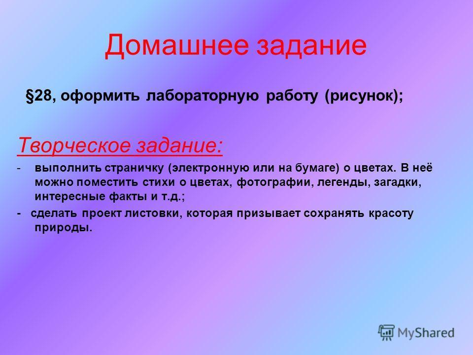 Домашнее задание §28, оформить лабораторную работу (рисунок); Творческое задание: -выполнить страничку (электронную или на бумаге) о цветах. В неё можно поместить стихи о цветах, фотографии, легенды, загадки, интересные факты и т.д.; - сделать проект