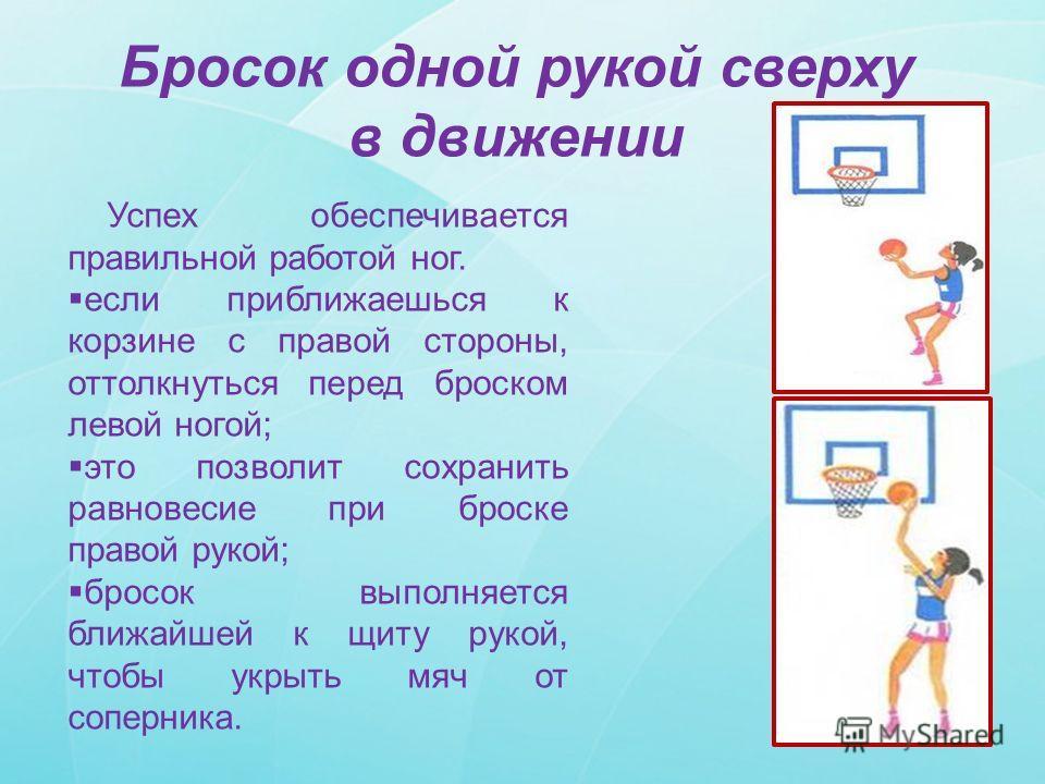 Бросок одной рукой сверху в движении Успех обеспечивается правильной работой ног. если приближаешься к корзине с правой стороны, оттолкнуться перед броском левой ногой; это позволит сохранить равновесие при броске правой рукой; бросок выполняется бли