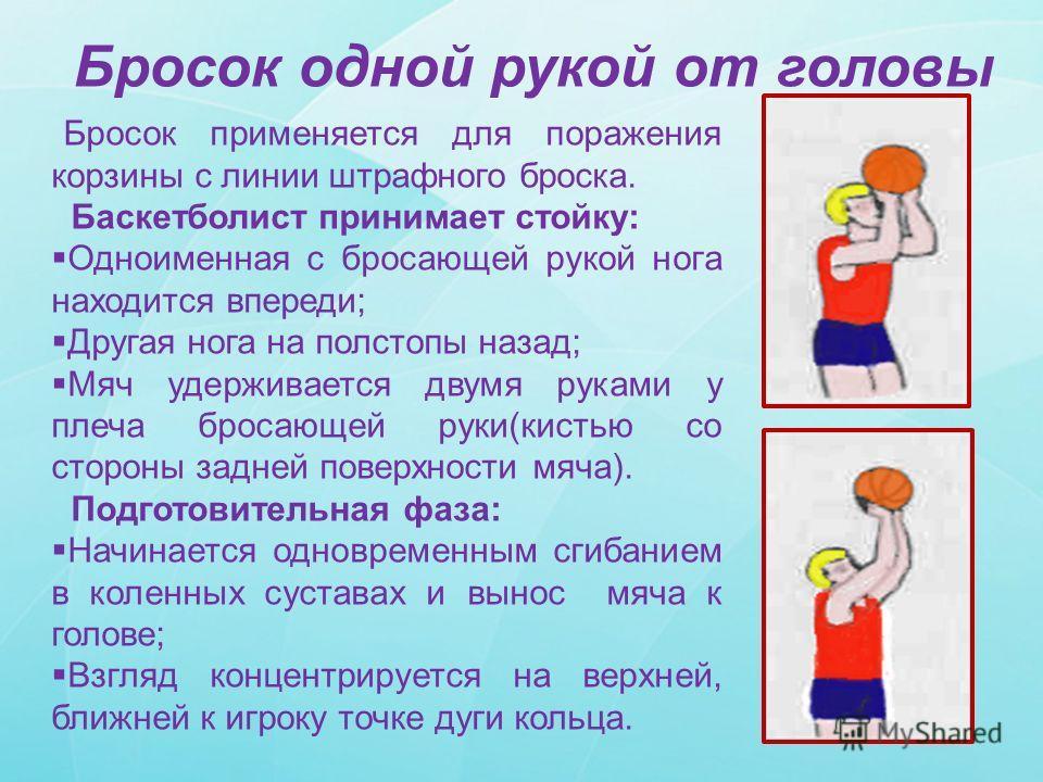 Бросок одной рукой от головы Бросок применяется для поражения корзины с линии штрафного броска. Баскетболист принимает стойку: Одноименная с бросающей рукой нога находится впереди; Другая нога на полстопы назад; Мяч удерживается двумя руками у плеча