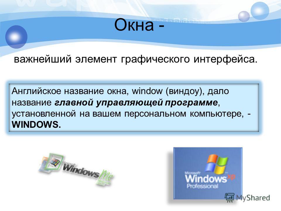 Окна - важнейший элемент графического интерфейса. Английское название окна, window (виндоу), дало название главной управляющей программе, установленной на вашем персональном компьютере, - WINDOWS.