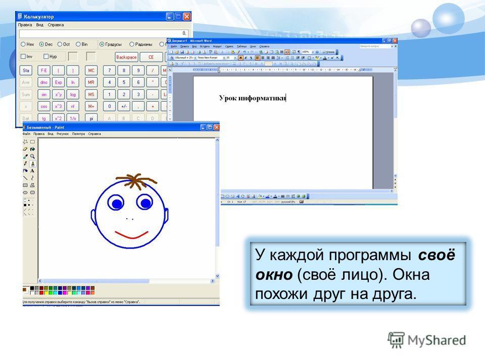 У каждой программы своё окно (своё лицо). Окна похожи друг на друга.