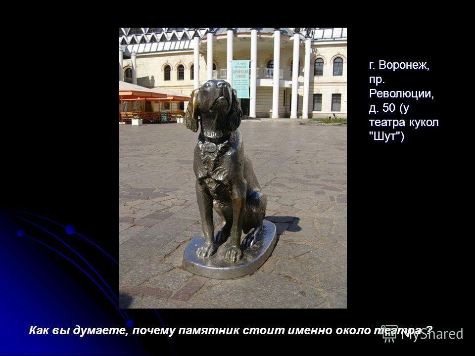 Как вы думаете, почему памятник стоит именно около театра ? г. Воронеж, пр. Революции, д. 50 (у театра кукол Шут)