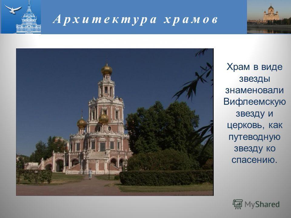 Архитектура храмов Храм в виде звезды знаменовали Вифлеемскую звезду и церковь, как путеводную звезду ко спасению.