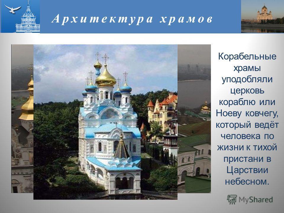Архитектура храмов Корабельные храмы уподобляли церковь кораблю или Ноеву ковчегу, который ведёт человека по жизни к тихой пристани в Царствии небесном.