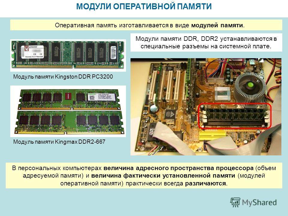 МОДУЛИ ОПЕРАТИВНОЙ ПАМЯТИ Модуль памяти Kingmax DDR2-667 Модуль памяти Kingston DDR PC3200 Оперативная память изготавливается в виде модулей памяти. Модули памяти DDR, DDR2 устанавливаются в специальные разъемы на системной плате. В персональных комп