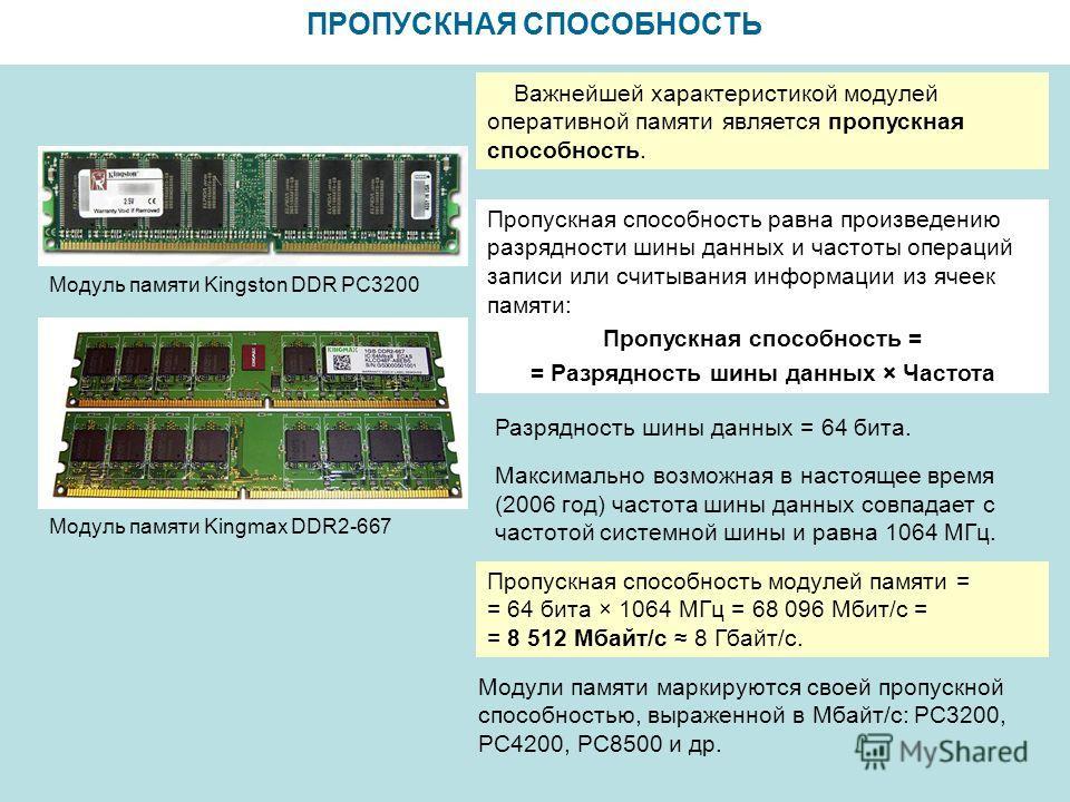 ПРОПУСКНАЯ СПОСОБНОСТЬ Модуль памяти Kingmax DDR2-667 Модуль памяти Kingston DDR PC3200 Важнейшей характеристикой модулей оперативной памяти является пропускная способность. Разрядность шины данных = 64 бита. Максимально возможная в настоящее время (