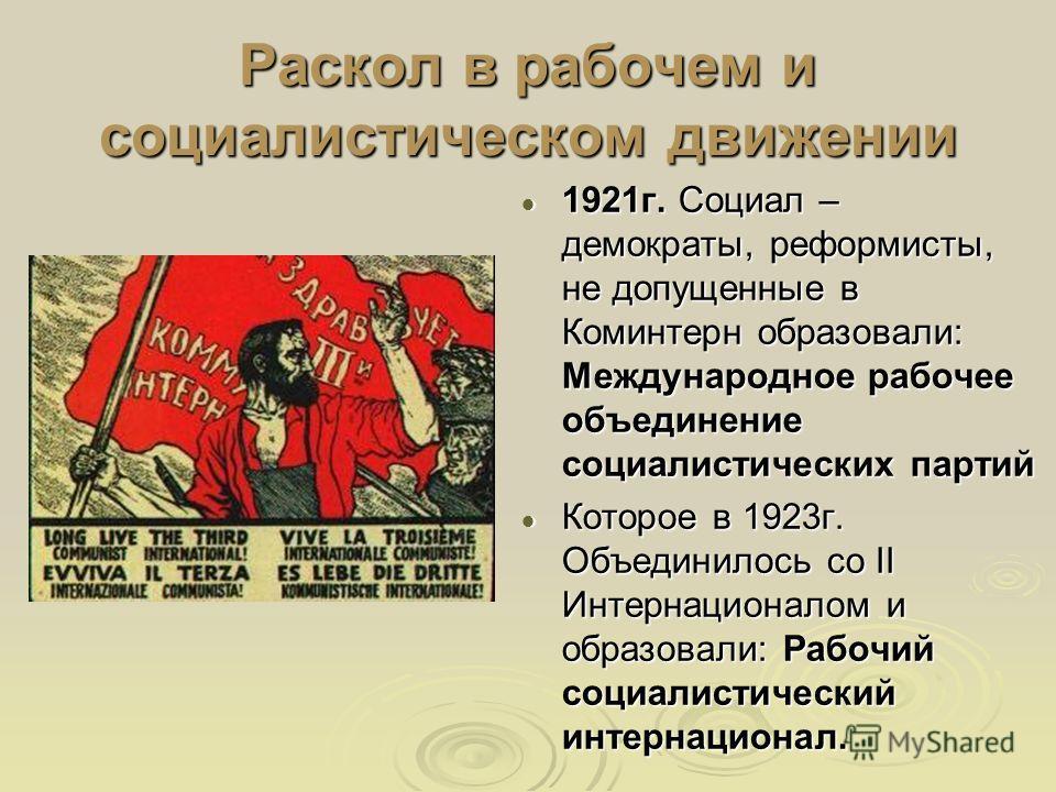 Раскол в рабочем и социалистическом движении 1921г. Социал – демократы, реформисты, не допущенные в Коминтерн образовали: Международное рабочее объединение социалистических партий 1921г. Социал – демократы, реформисты, не допущенные в Коминтерн образ