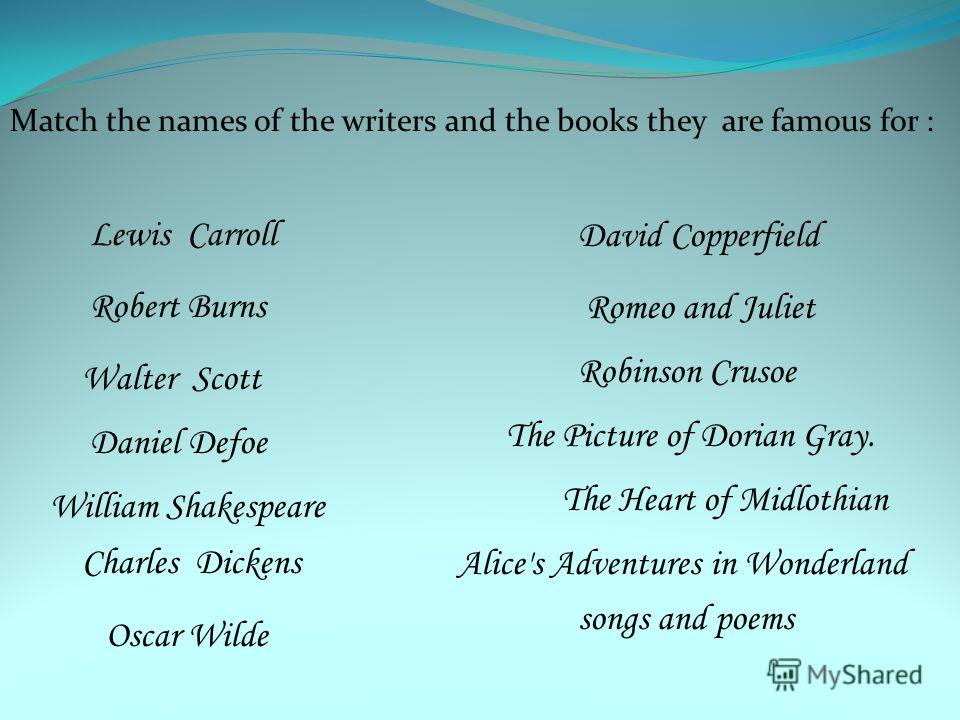Match the names of the writers and the books they are famous for : William Shakespeare Daniel Defoe Walter Scott Robert Burns Lewis Carroll Oscar Wilde Charles Dickens David Copperfield The Heart of Midlothian Romeo and Juliet songs and poems Robinso