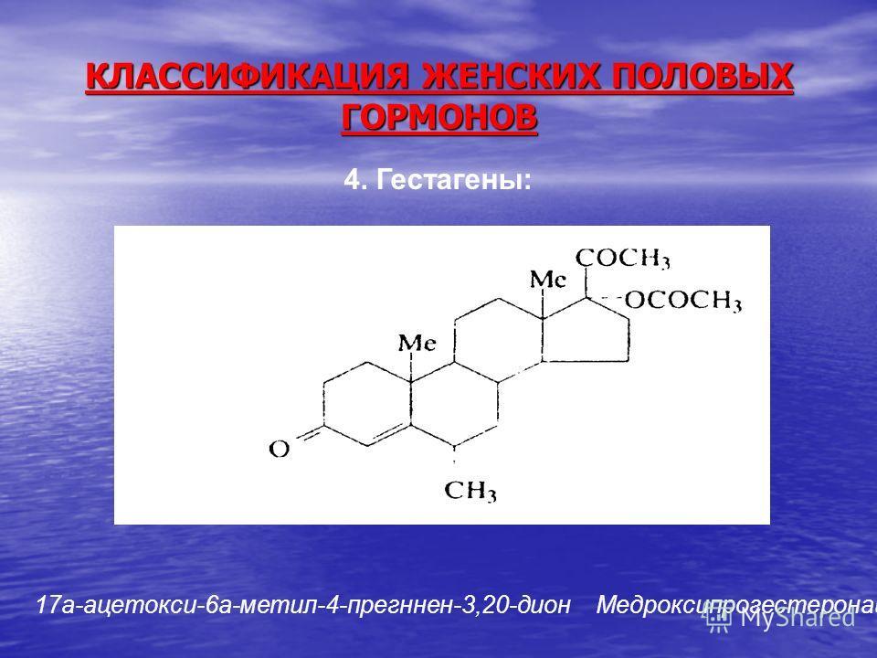 КЛАССИФИКАЦИЯ ЖЕНСКИХ ПОЛОВЫХ ГОРМОНОВ 4. Гестагены: 17a-ацетокси-6а-метил-4-прегннен-3,20-дион Медроксипрогестеронацетат