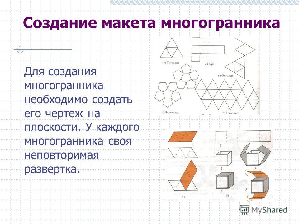 Создание макета многогранника Для создания многогранника необходимо создать его чертеж на плоскости. У каждого многогранника своя неповторимая развертка.