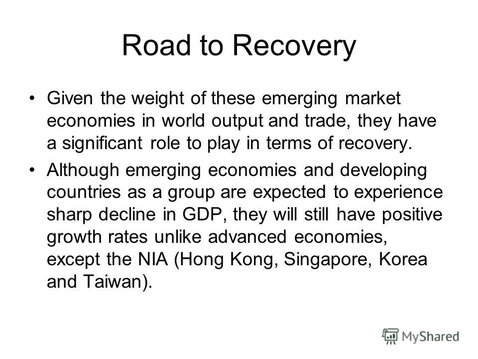 Road to Recovery Given the weight of these emerging market economies in world output and trade, they have a significant role to play in terms of recovery. Although emerging economies and developing countries as a group are expected to experience shar