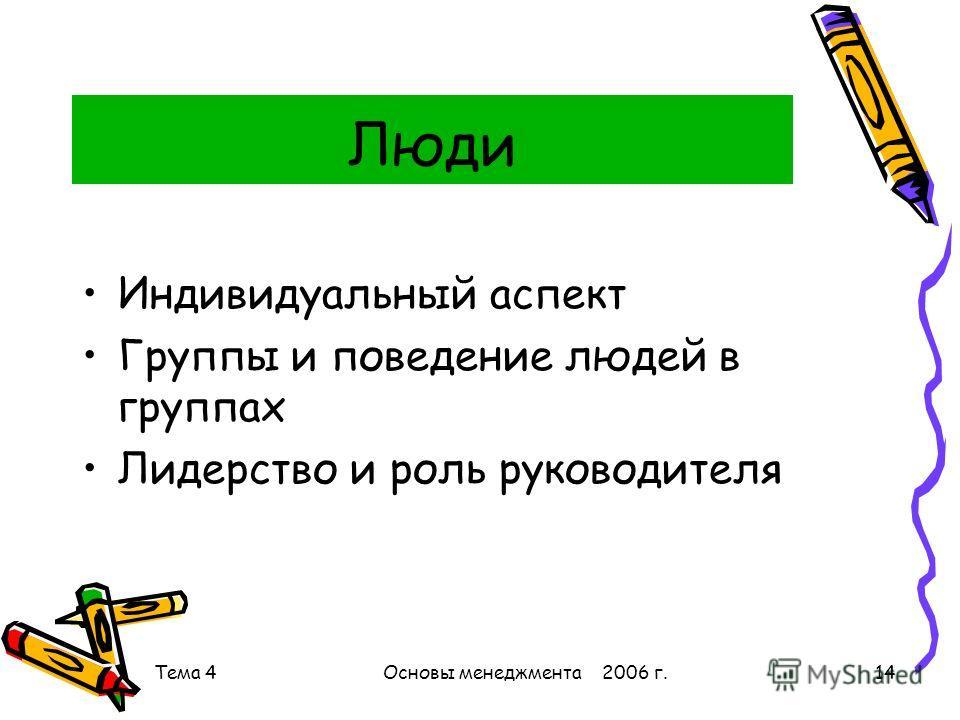 Тема 4Основы менеджмента 2006 г.14 Люди Индивидуальный аспект Группы и поведение людей в группах Лидерство и роль руководителя