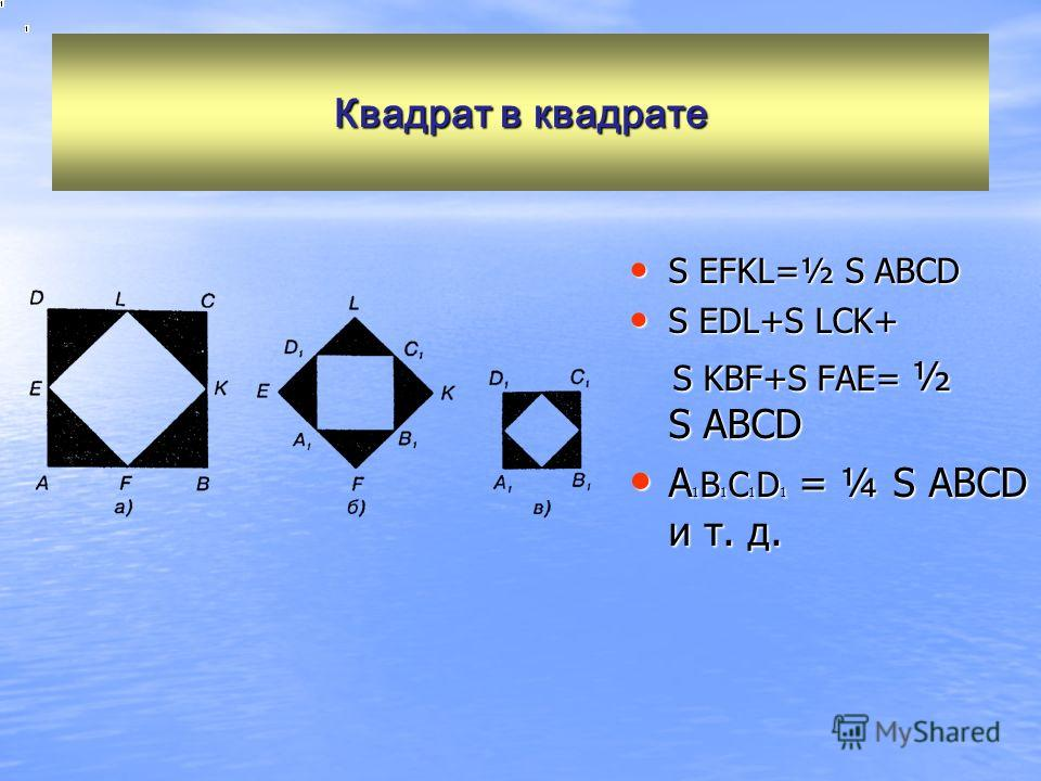 Квадрат в квадрате S EFKL=½ S ABCD S EFKL=½ S ABCD S EDL+S LCK+ S EDL+S LCK+ S KBF+S FAE= ½ S ABCD S KBF+S FAE= ½ S ABCD A 1 B 1 C 1 D 1 = ¼ S ABCD и т. д. A 1 B 1 C 1 D 1 = ¼ S ABCD и т. д.