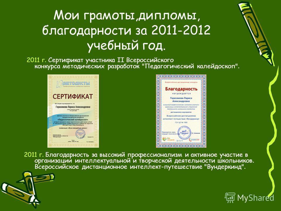 Мои грамоты,дипломы, благодарности за 2011-2012 учебный год. 2011 г. Сертификат участника II Всероссийского конкурса методических разработок