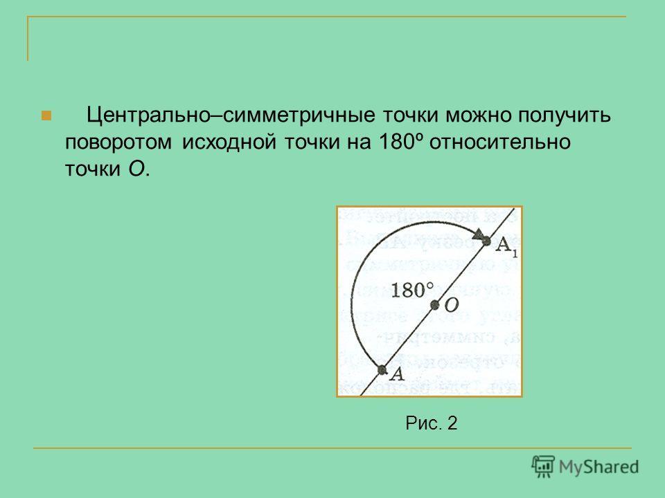 Центрально–симметричные точки можно получить поворотом исходной точки на 180º относительно точки О. Рис. 2