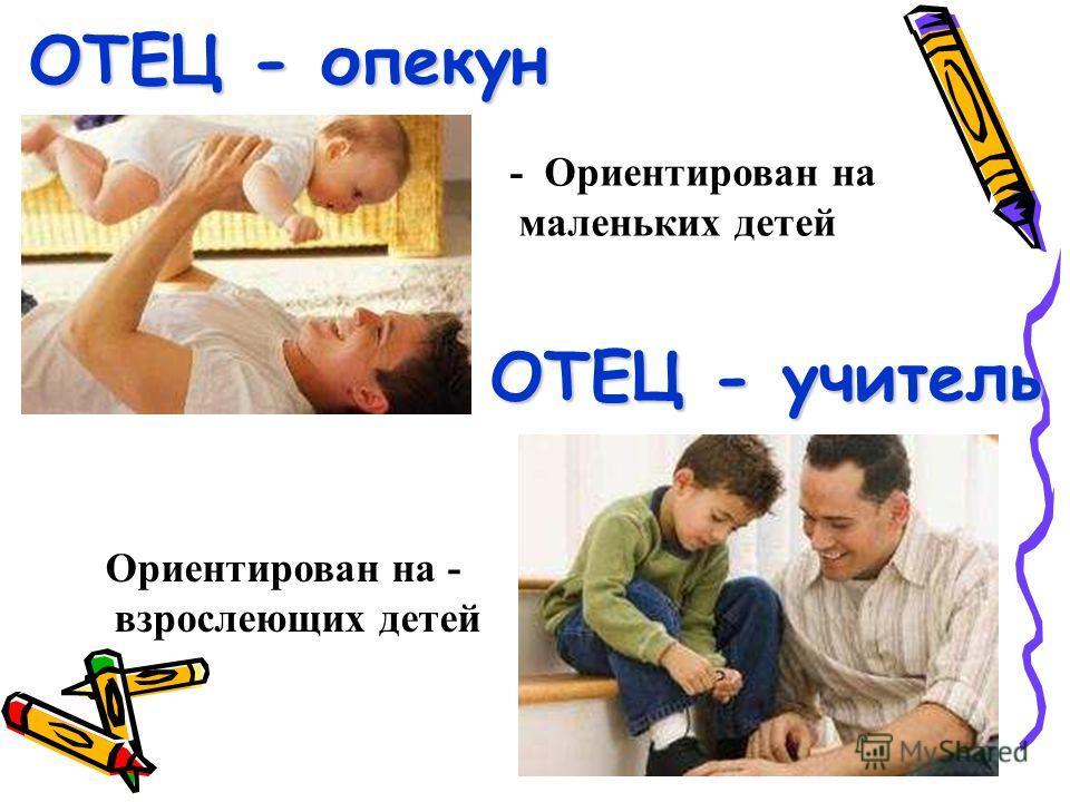 ОТЕЦ - опекун ОТЕЦ - учитель - Ориентирован на маленьких детей Ориентирован на - взрослеющих детей