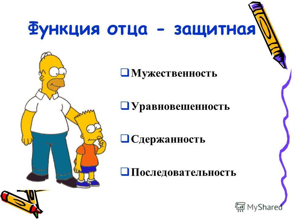 Функция отца - защитная Мужественность Уравновешенность Сдержанность Последовательность