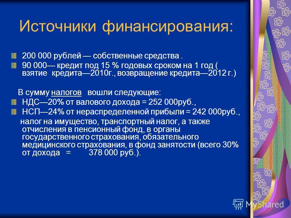Источники финансирования: 200 000 рублей собственные средства. 90 000 кредит под 15 % годовых сроком на 1 год ( взятие кредита2010г., возвращение кредита2012 г.) В сумму налогов вошли следующие: НДС20% от валового дохода = 252 000руб., НСП24% от нера