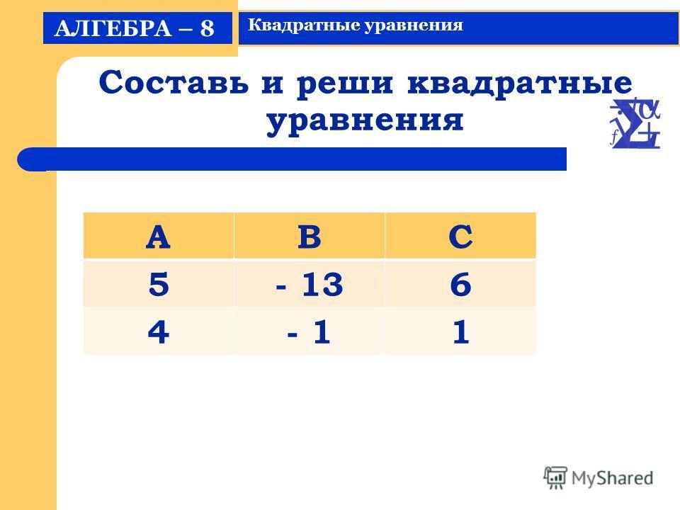Составь и реши квадратные уравнения АЛГЕБРА – 8 Квадратные уравнения АВС 5- 136 4- 11