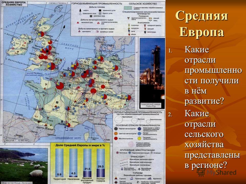 Средняя Европа 1. Какие отрасли промышленно сти получили в нём развитие? 2. Какие отрасли сельского хозяйства представлены в регионе?