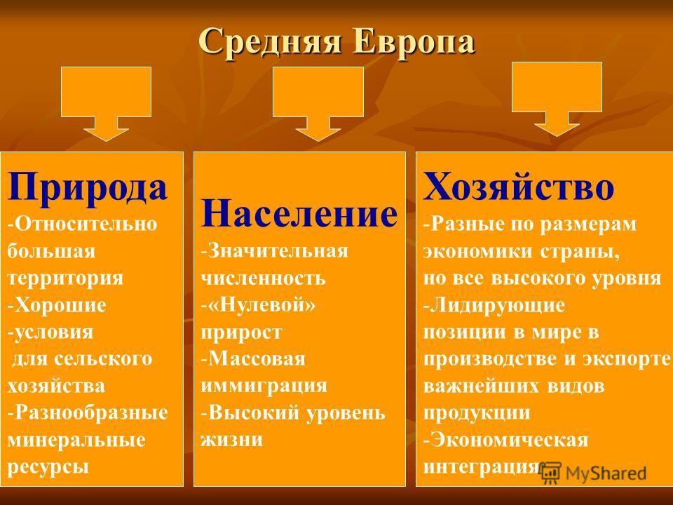 Средняя Европа Природа -Относительно большая территория -Хорошие -условия для сельского хозяйства -Разнообразные минеральные ресурсы Население -Значительная численность -«Нулевой» прирост -Массовая иммиграция -Высокий уровень жизни Хозяйство -Разные