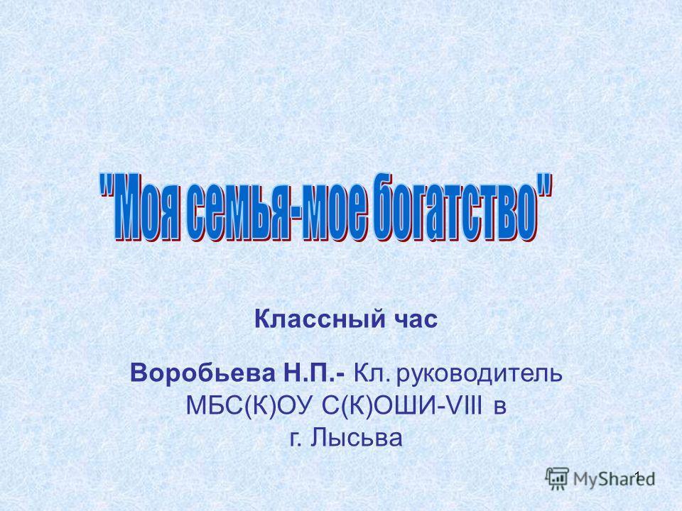 1 Классный час Воробьева Н.П.- Кл. руководитель МБС(К)ОУ С(К)ОШИ-VIII в г. Лысьва