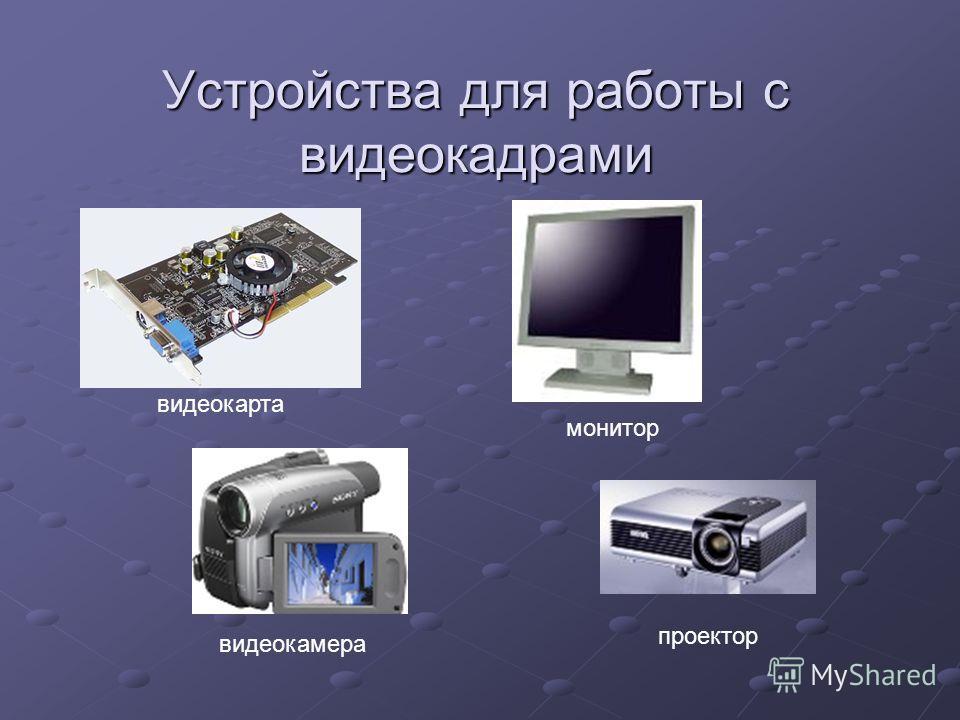 Устройства для работы с видеокадрами видеокамеравидеокарта монитор проектор