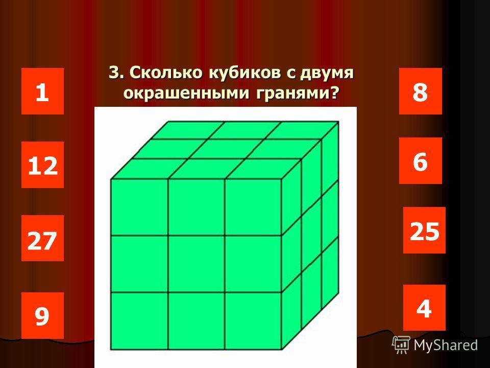 1 12 25 6 8 27 4 9 Мистер Х очень любил глазурь, поэтому выбирал кусочки покрытые глазурью. Сколько кубиков с тремя окрашенными гранями?