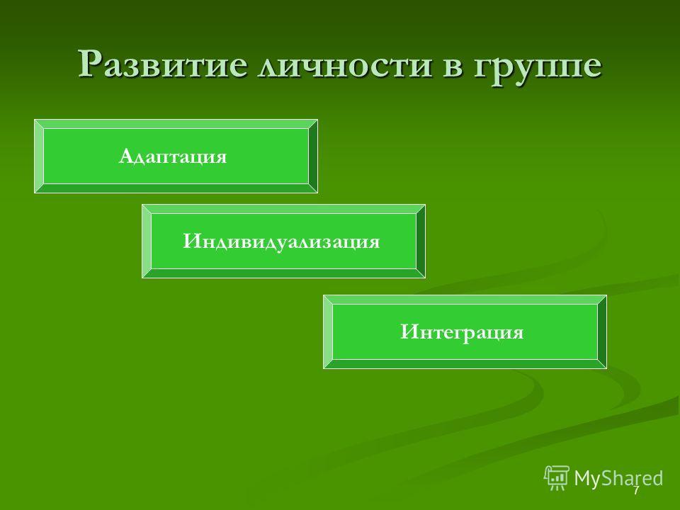 7 Развитие личности в группе Адаптация Интеграция Индивидуализация