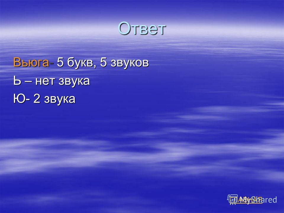 Ответ Вьюга- 5 букв, 5 звуков Ь – нет звука Ю- 2 звука ГЛАВНАЯ