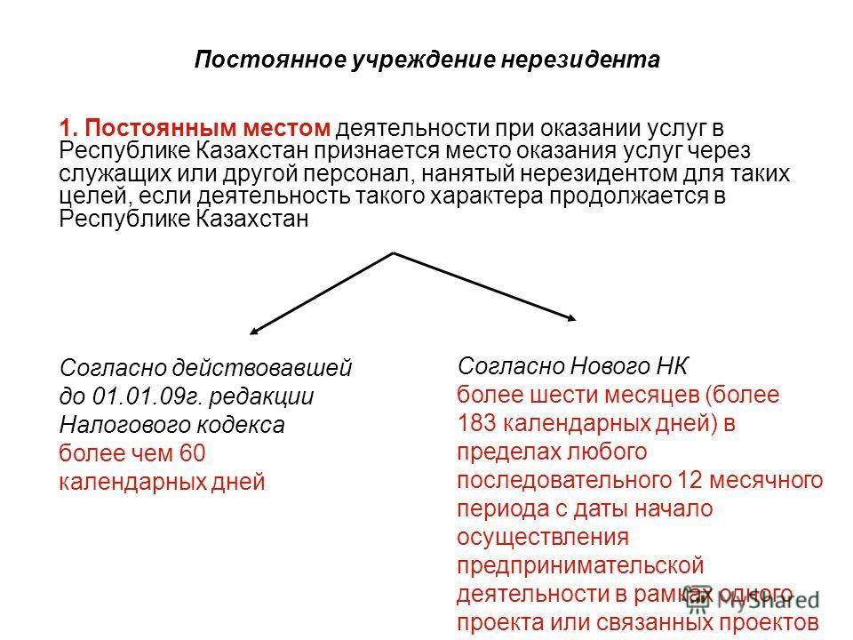 Постоянное учреждение нерезидента 1. Постоянным местом деятельности при оказании услуг в Республике Казахстан признается место оказания услуг через служащих или другой персонал, нанятый нерезидентом для таких целей, если деятельность такого характера