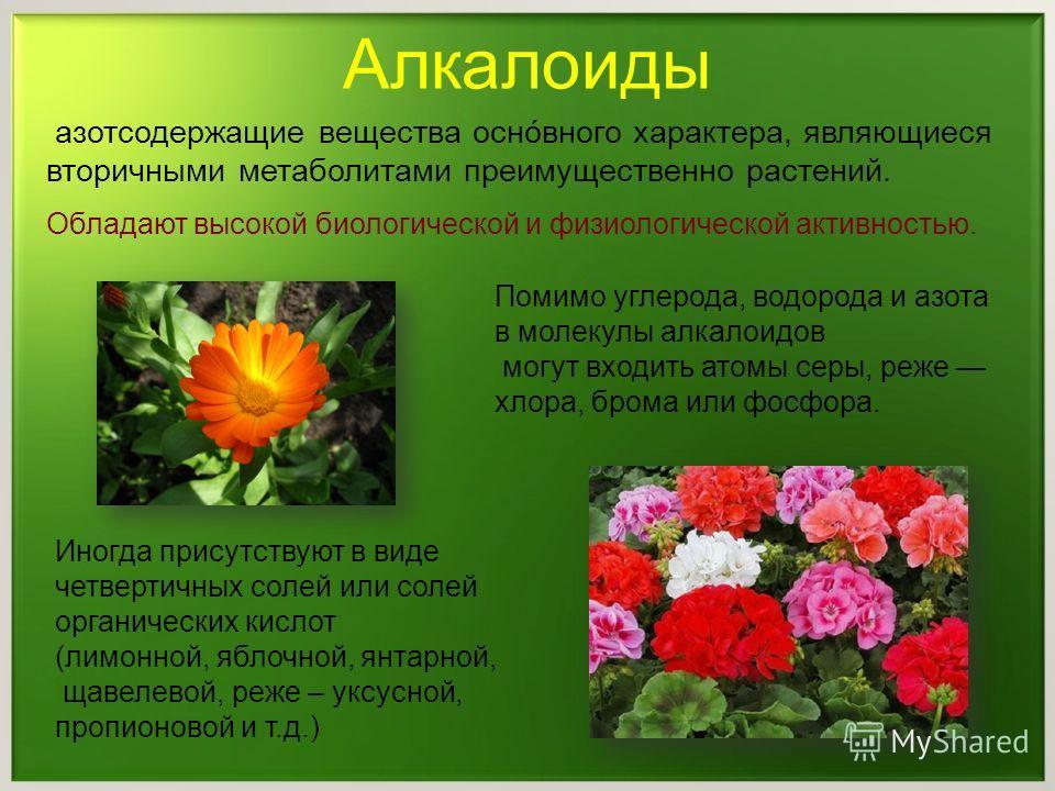 азотсодержащие вещества оснóвного характера, являющиеся вторичными метаболитами преимущественно растений. Обладают высокой биологической и физиологической активностью. Алкалоиды Помимо углерода, водорода и азота в молекулы алкалоидов могут входить ат