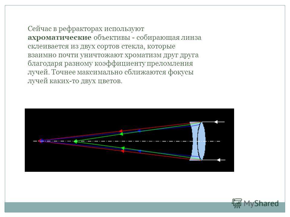 Сейчас в рефракторах используют ахроматические объективы - собирающая линза склеивается из двух сортов стекла, которые взаимно почти уничтожают хроматизм друг друга благодаря разному коэффициенту преломления лучей. Точнее максимально сближаются фокус