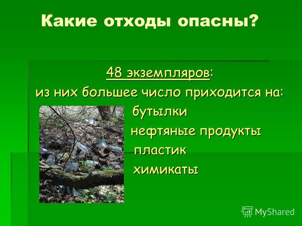 Какие отходы опасны? 48 экземпляров: из них большее число приходится на: бутылки нефтяные продукты нефтяные продуктыпластик химикаты химикаты