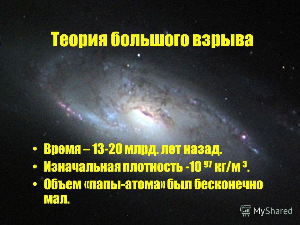 Теория большого взрыва Время – 13-20 млрд. лет назад. Изначальная плотность -10 97 кг/м 3. Объем «папы-атома» был бесконечно мал.