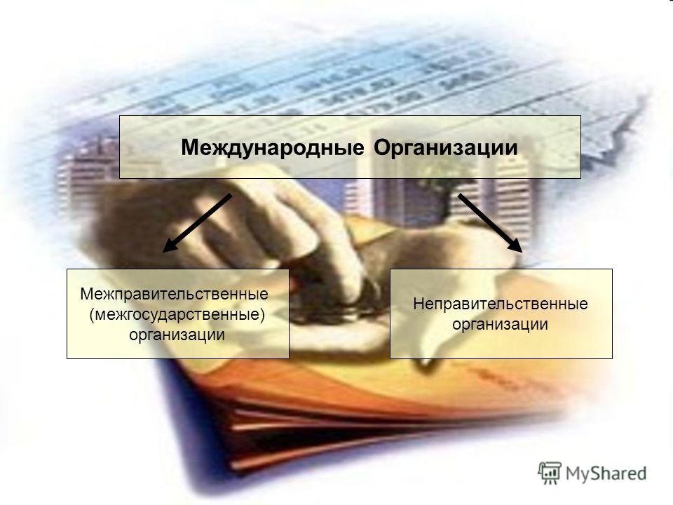 Международные Организации Межправительственные (межгосударственные) организации Неправительственные организации